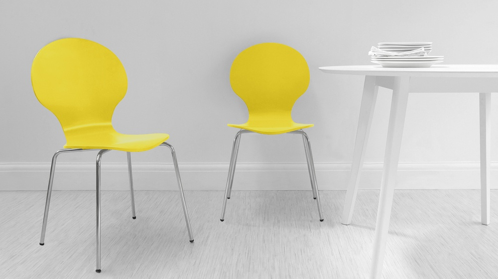 Mid-Century Modern Yellow Dining Chairs