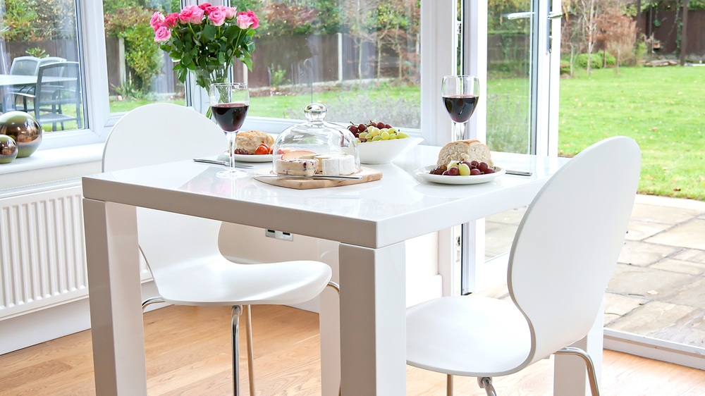 Small Square White Gloss Dining Table and Stackable Dining Chairs