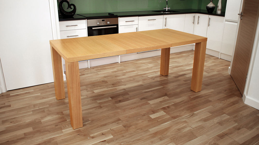 Extending Modern Oak Veneer Dining Table Seats 4 To 8 People