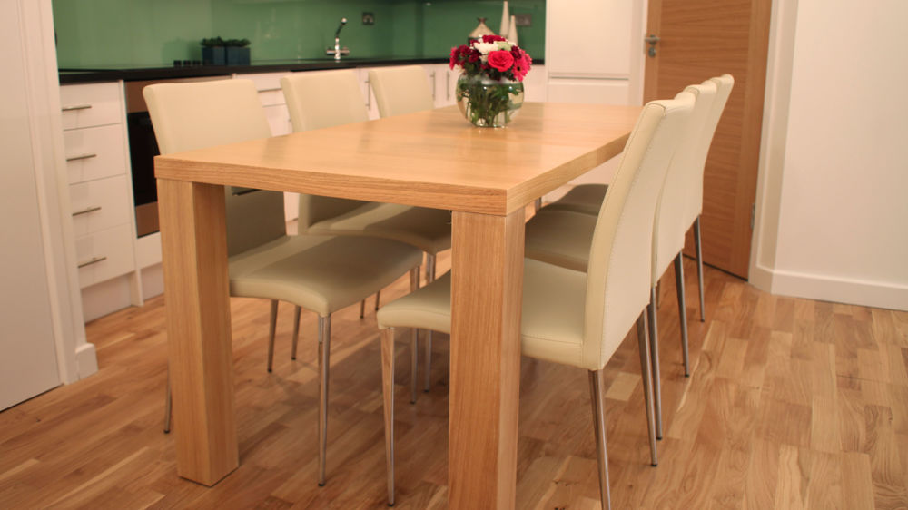 Contemporary Oak Dining Tables Extendable: Extending Modern Oak Veneer Dining Table