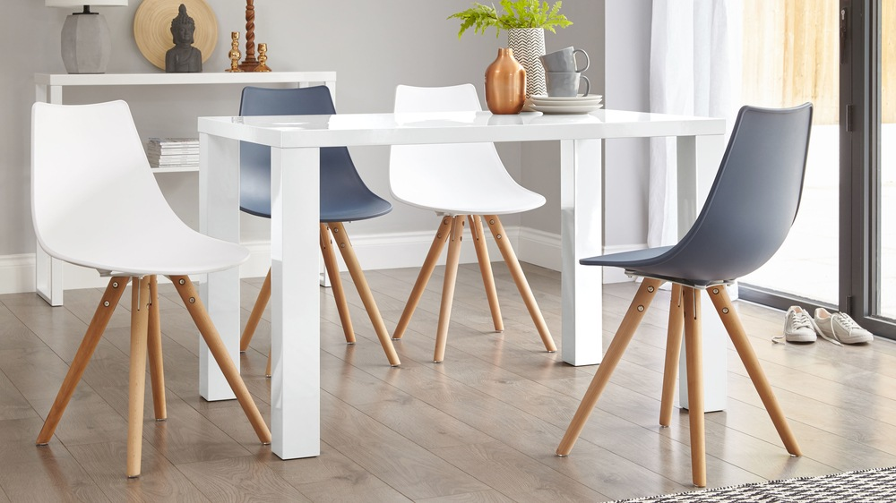 white gloss four seater dining table