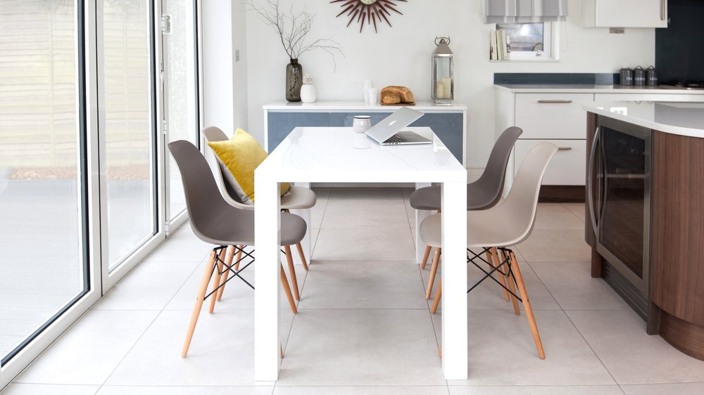 White Gloss Dining Table and Eames Chairs