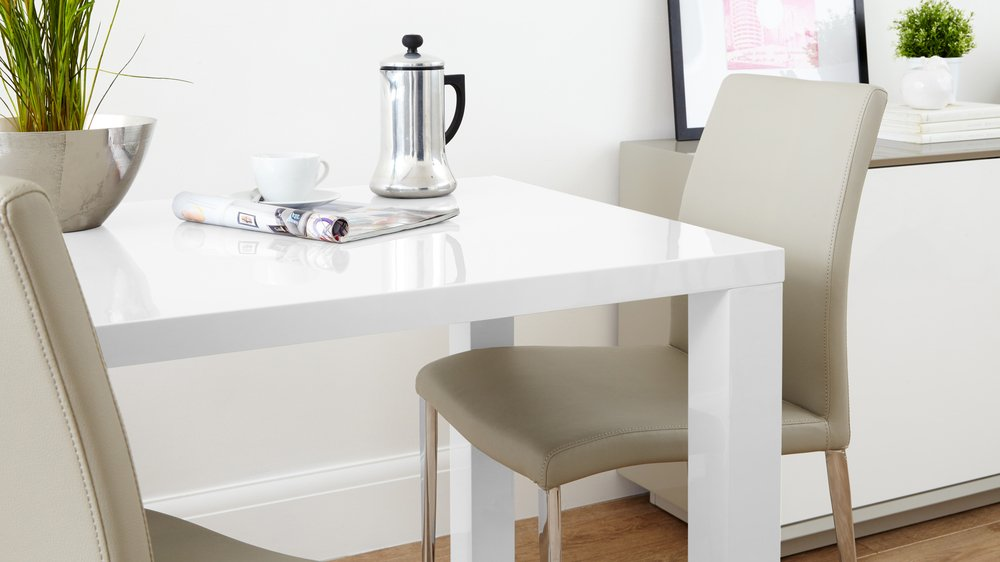 high white gloss modern dining table