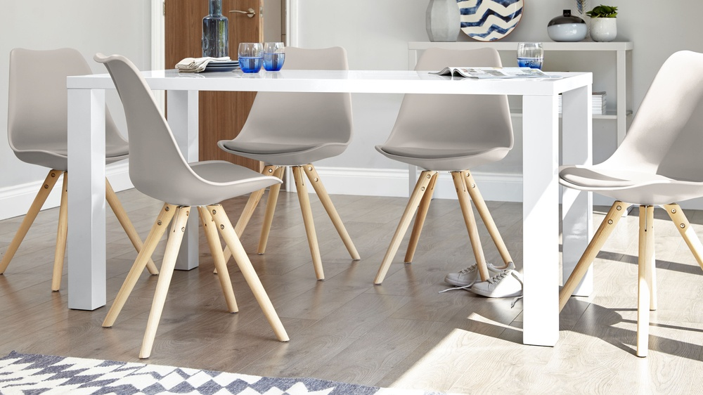 Taupe grey and white gloss dining table