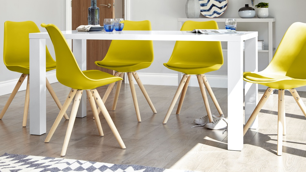 Colourful Dining Chairs and Rectangular White Gloss Dining Table