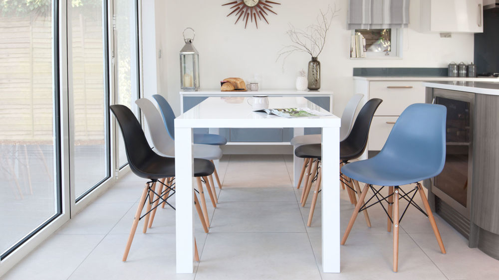 White Gloss Dining Table and Eames Dining Chairs