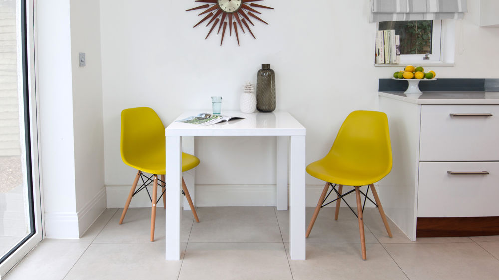 Modern Yellow and White Small Dining Set