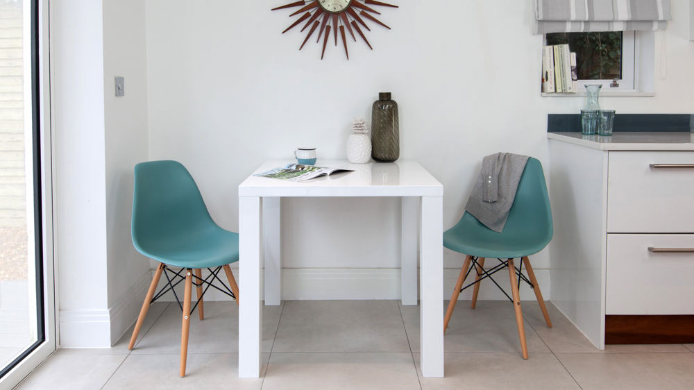 Contemporary White Gloss Kitchen Table and Coloured Chairs