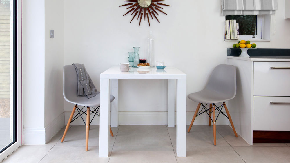 white dining table set. 2 seater white gloss dining table and eames chairs set & White Dining Table Set. 2 Seater White Gloss Dining Table And Eames ...