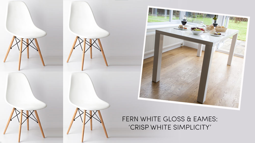 Simple White Gloss and Eames Style Dining Set