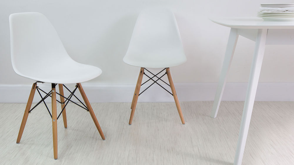 White Gloss 4 Seater Table and Eames Style Dining Chairs UK