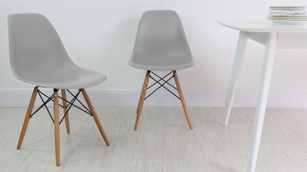 Mid Century Modern Inspired Light Grey Dining Chairs