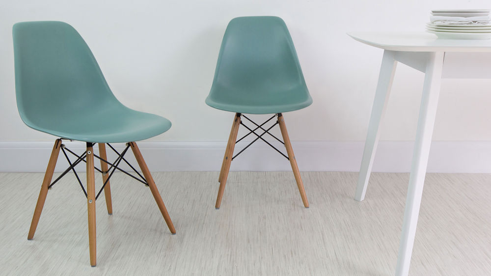 Light Green Plastic Dining Chairs with Wooden Legs
