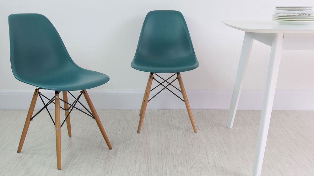 Teal Eames Style Plastic Dining Chair