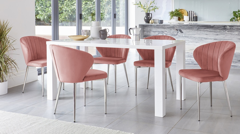 Fern White Gloss and Harper Shell Pink 6 Seater Dining Set