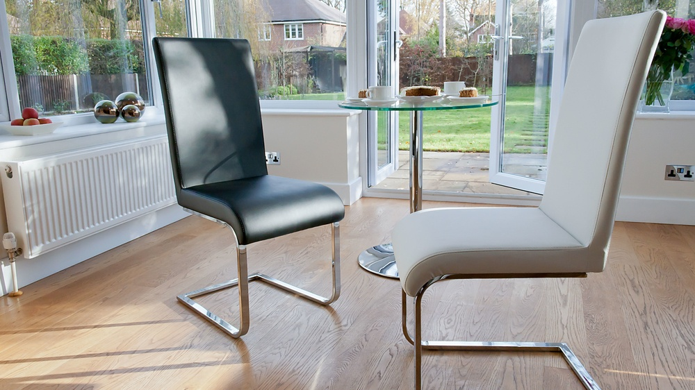 Modern Black and White Swing Dining Chairs