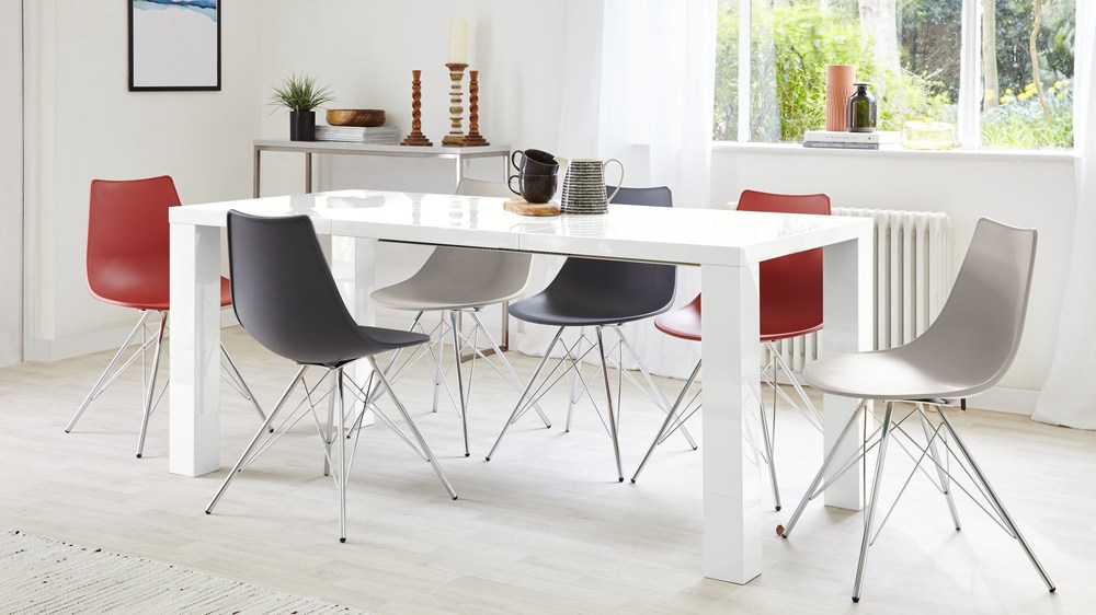 White Gloss Extending Dining Table and Stylo Chairs
