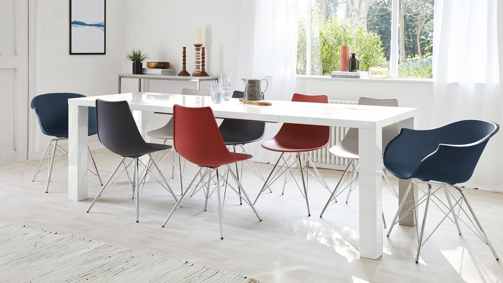 Extending Dining Table Set with Bright Chairs