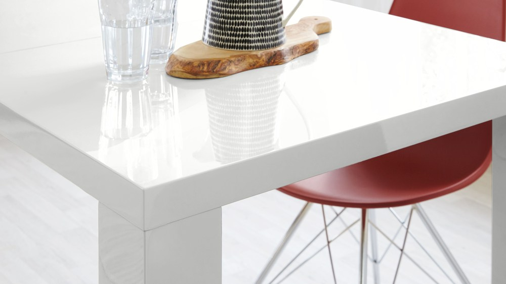 high white gloss family table