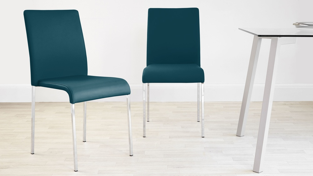 Teal faux leather dining chair