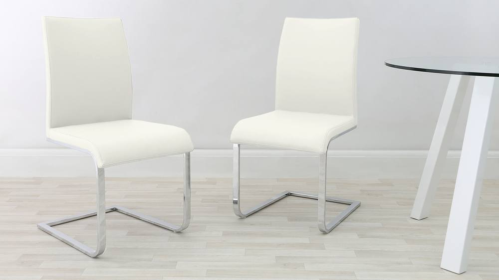 Stylish White Dining Chair with Chrome Legs