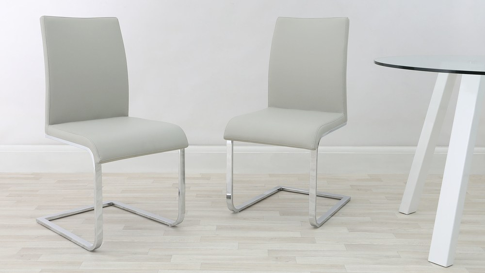 Stylish Light Grey Dining Chairs with Chrome Legs
