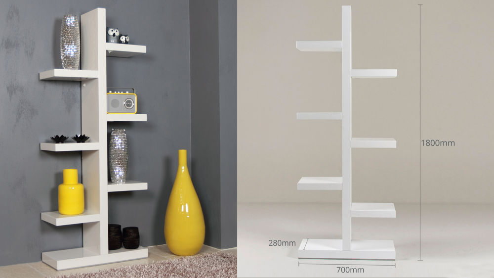 White High Gloss Bookcase Shelving Unit 6 Shelves Uk