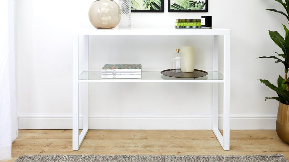Modern white gloss console table glass shelf uk delivery for Modern white lacquer console table