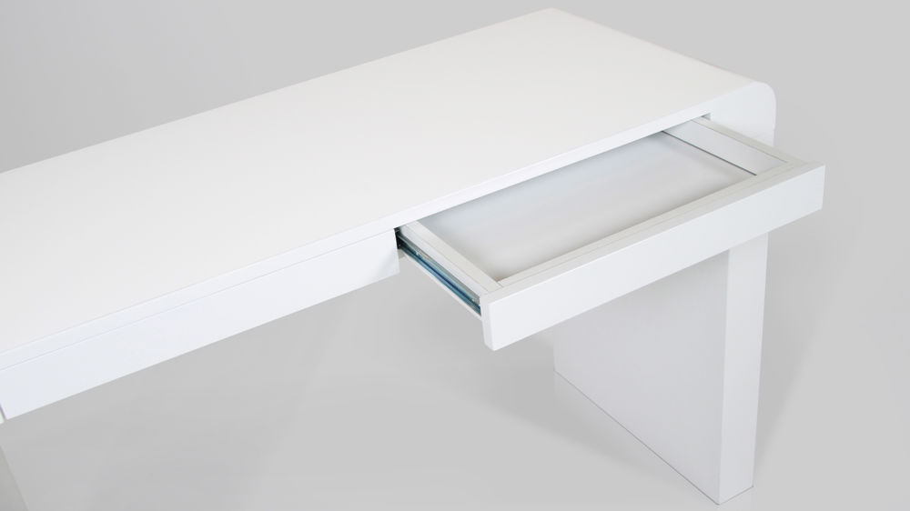 White Gloss Desk with Storage Space