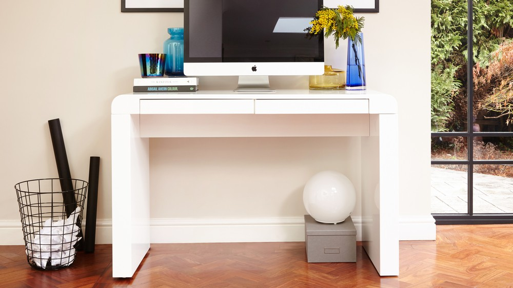 fern white gloss modern desk
