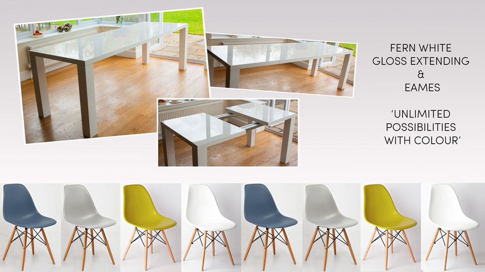 Extending White Gloss Dining Table and Eames Style Dining Set
