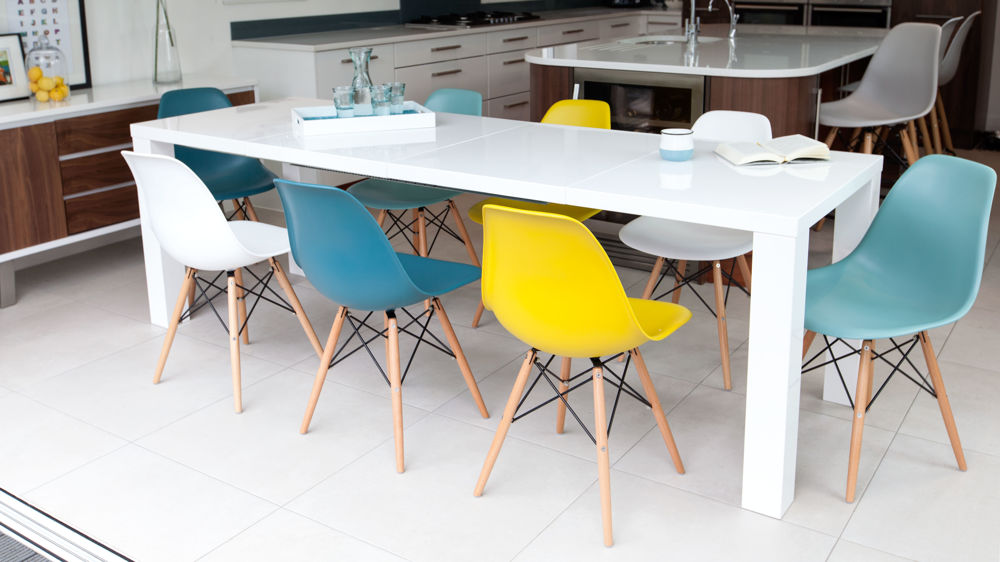 Modern White Gloss Extending Table And Eames Chairs