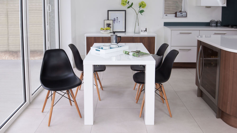 Stylish Black Dining Chairs and White Gloss Extending Table