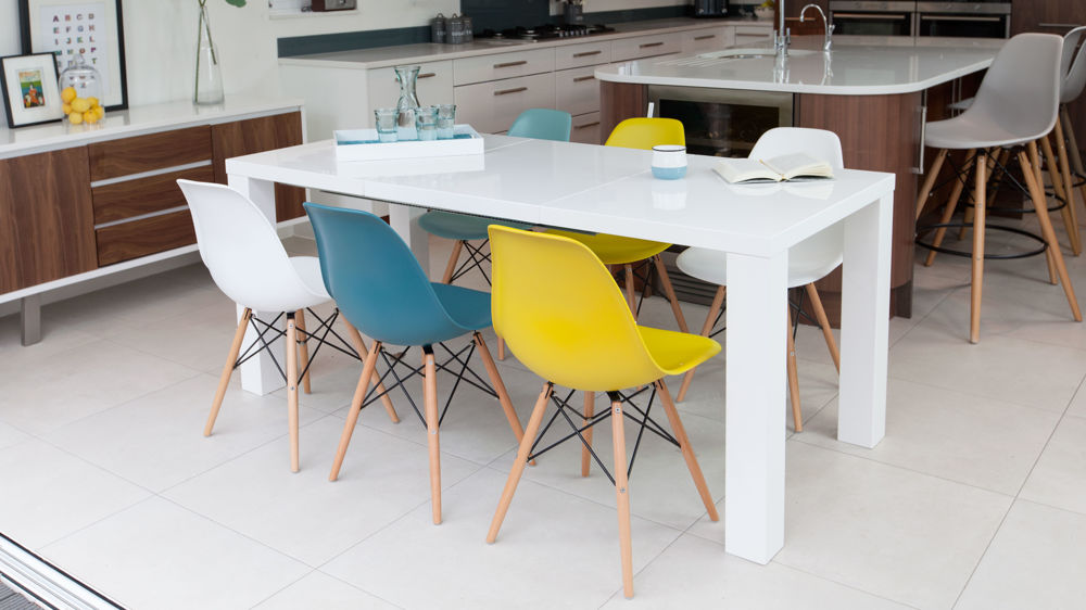 Large White Gloss Extending Table and Colourful Dining Chairs