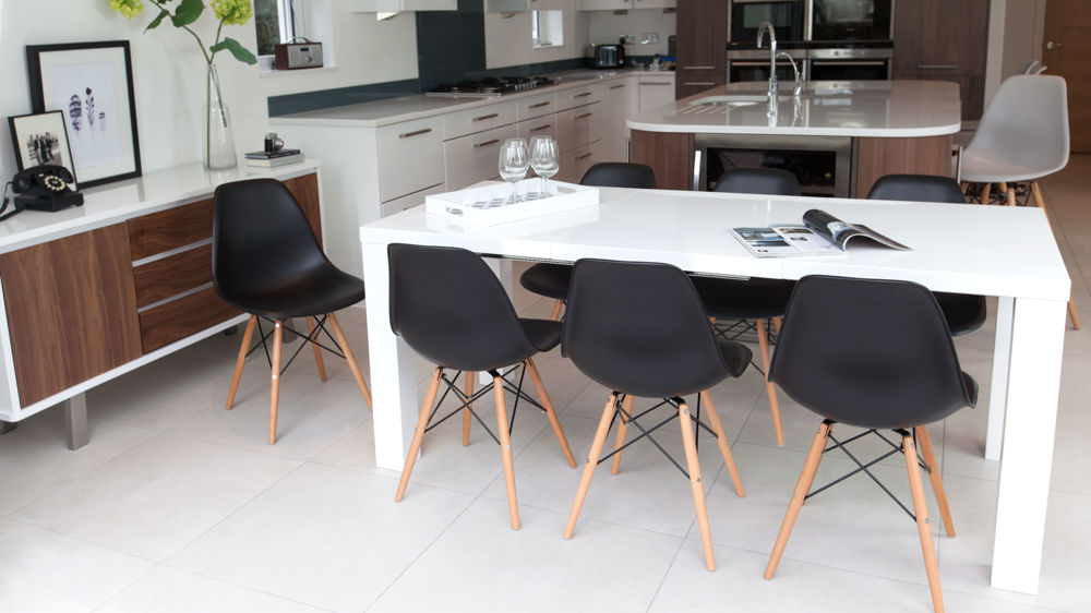 Modern Black and White Double Extending Dining Set
