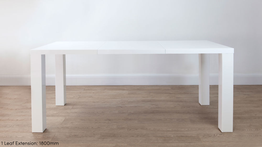 Modern White Gloss Extending Dining Table UK