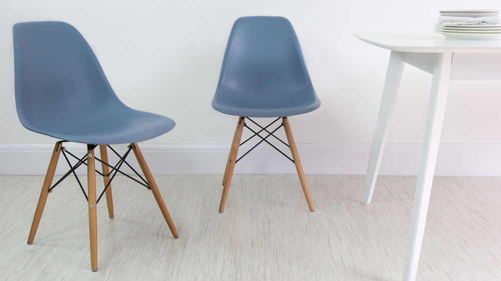 Blue Eames Style Plastic Dining Chair