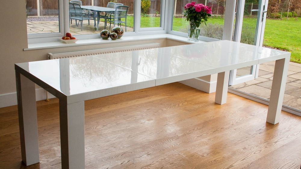 Modern White Gloss Double Extending Dining Table UK