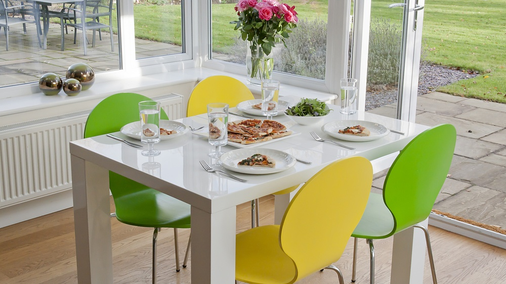 4-10 Seater White Gloss Dining Table and Colourful Dining Chairs
