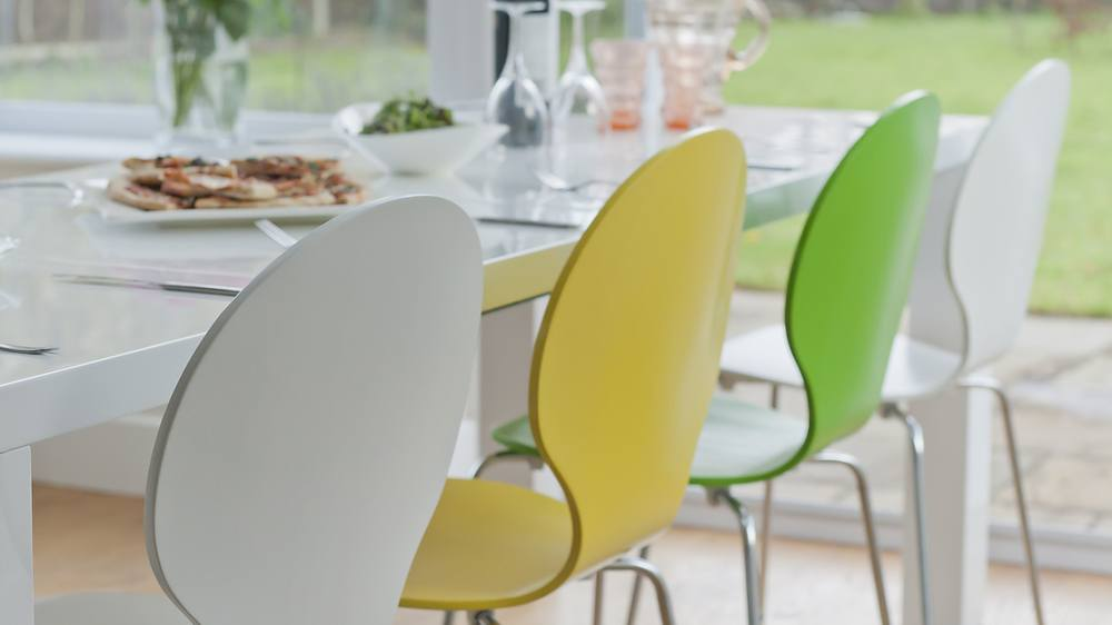 Coloured Dining Chairs and White Gloss Double Extending Dining Table