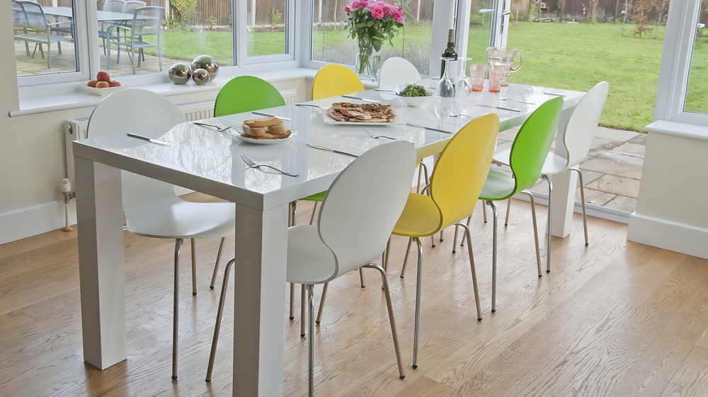 White Gloss Extending Dining Table and Coloured Dining Chairs
