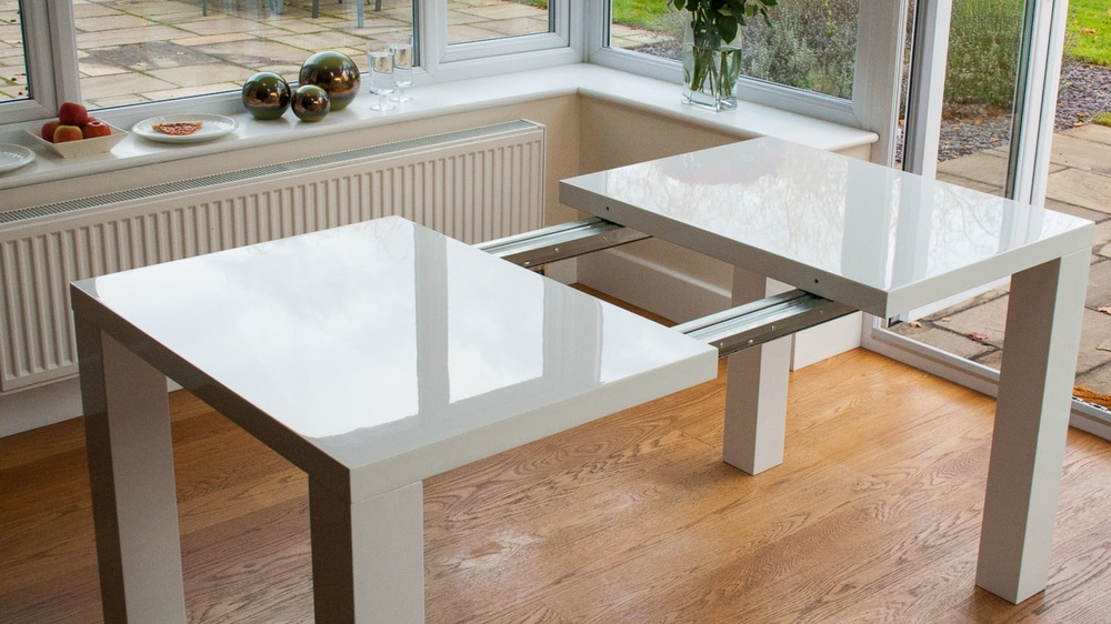 Large Easy Extending White Gloss Dining Table
