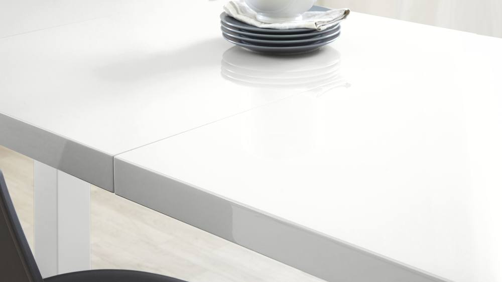 White gloss modern dining table with extension