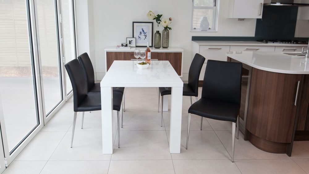 Modern White Gloss Extending Dining Table and Black Chairs