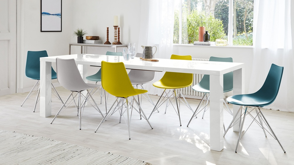 Ordinary White Table Uk Part - 8: Large White Gloss Extending Dining Table