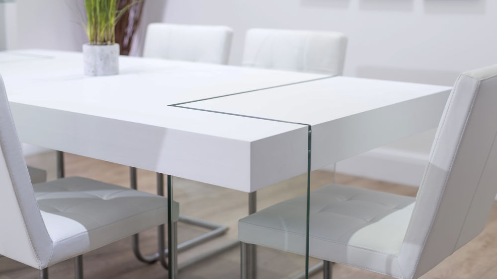 Modern White and Glass Dining Table and Swing Dining Chairs