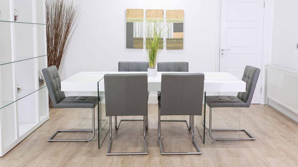 6 Seater White Dining Table and Grey Dining Chairs