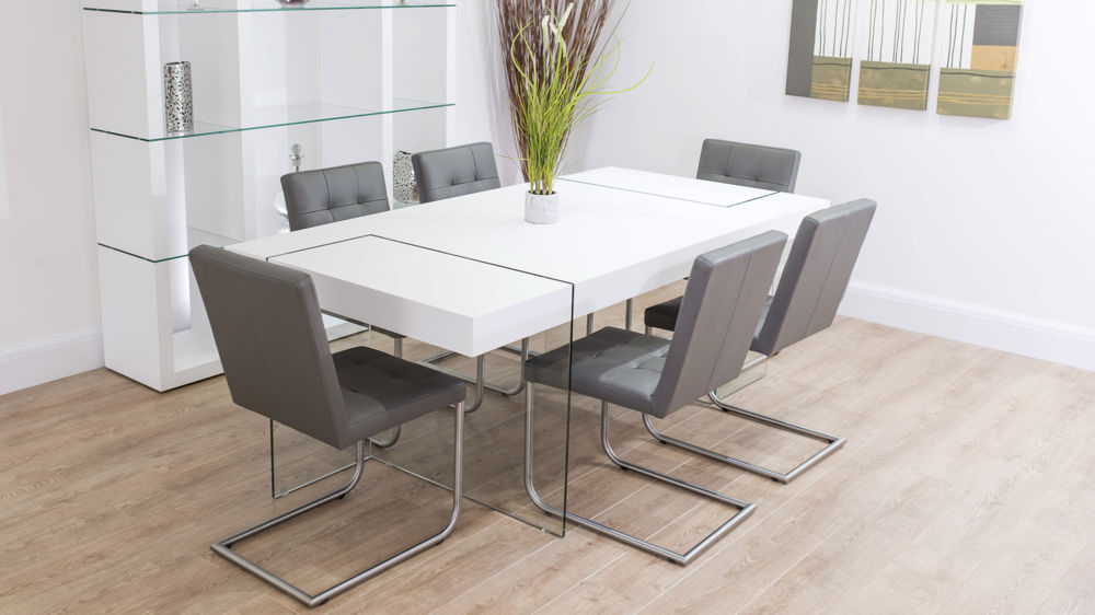Grey Real Leather Swing Chairs and White Floating Dining Table