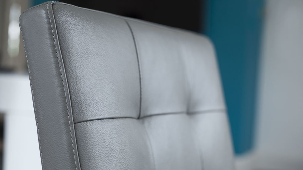 Grey Quilted Real Leather Dining Chair