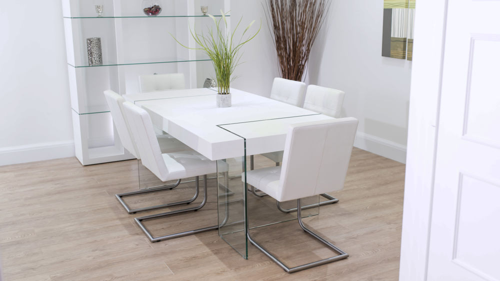 Modern White Real Leather Floating Dining Set